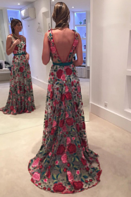New Arrival Prom Dress,lace prom dresses,Exquisite Round Neck Sleeveless Backless Sweep Train Floral Lace Prom Dress