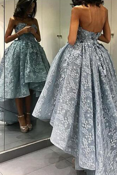 New Arrival Prom Dress,lace prom dresses,Sweetheart Sleeveless Backless High Low Grey Lace Prom Dress