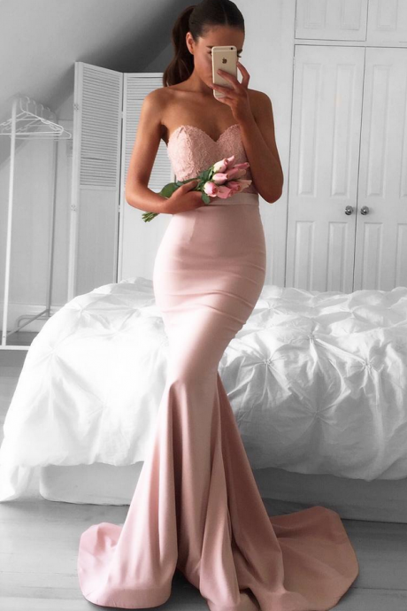 Sweetheart Mermaid Newest Sleeveless Sweep-Train Prom Dress Newest Mermaid Prom Dress
