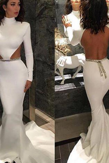 Sexy Backless White High Neck Prom Gowns Mermaid Long Sleeve 2016 Evening Dresses