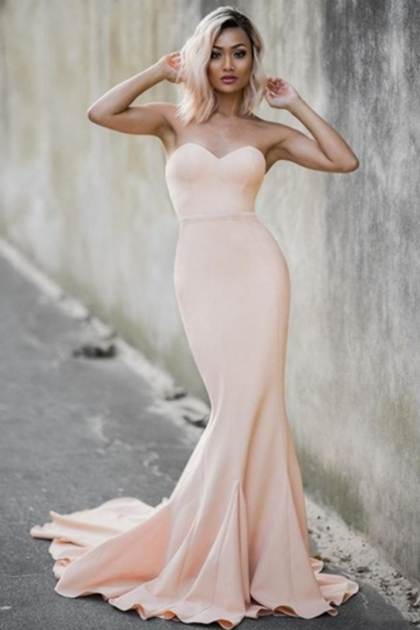 Prom Dresses,Long Prom Dresses,Pale Pink Sweetheart Mermiad Evening Dresses Strapless 2016 Cheap Prom Dress