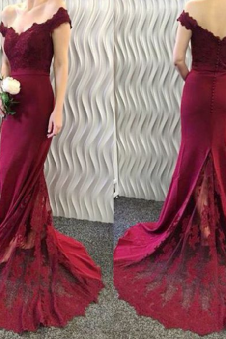 Mermaid Off-the-Shoulder Burgundy Evening Dresses 2017 Lace Appliques Long Prom Dresses