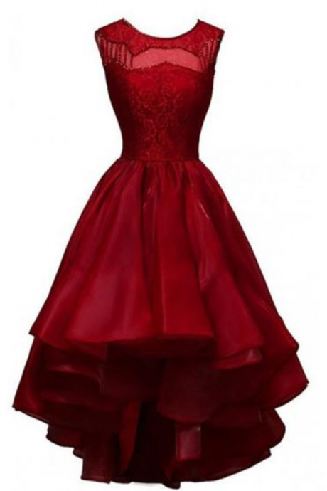 Glamorous High-low Organza Beading Prom Dresses Evening Gowns Party Dresses