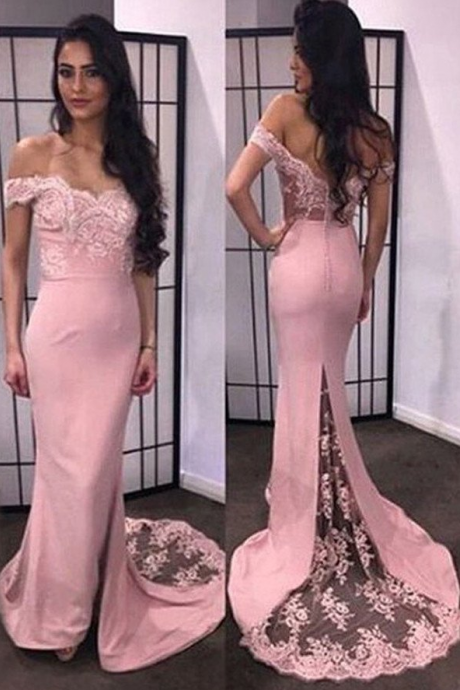 Pretty Mermaid Sweetheart Off-the-shoulder Long Prom Dress with Train