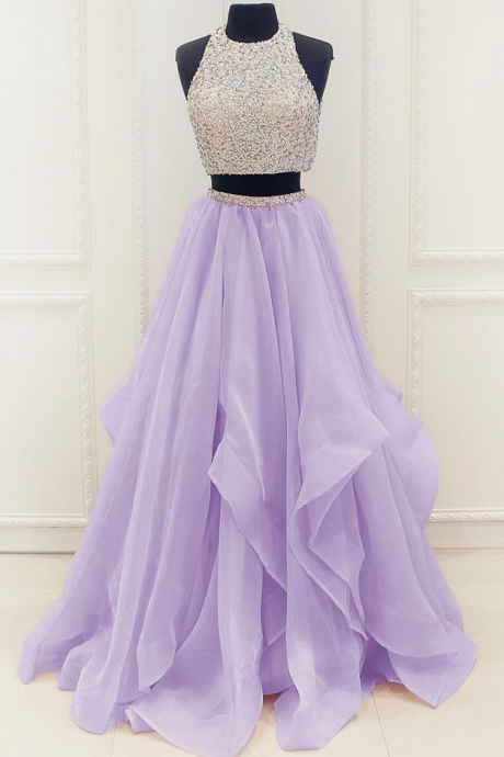 Sleeveless Sequinned Two-Piece Organza Ruffled Prom Dress, Evening Dress