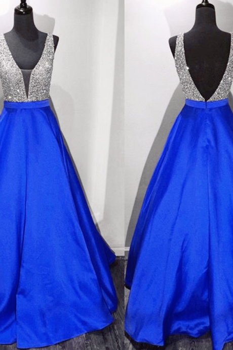 New Arrival Prom Dress,Modest Prom Dress,long satin v neck royal blue prom dresses ball gowns 2017