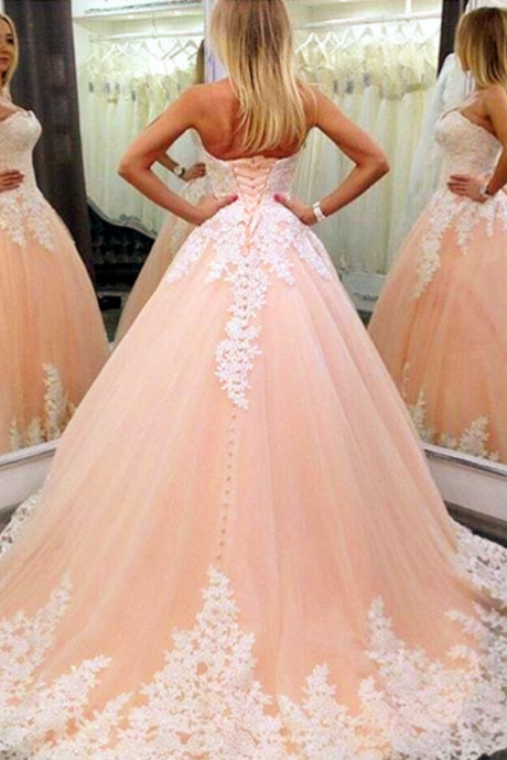 New Arrival Prom Dress,Modest Prom Dress,white lace appliques sweetheart tulle ball gowns quinceanera dresses 2017 elegant coral prom dress