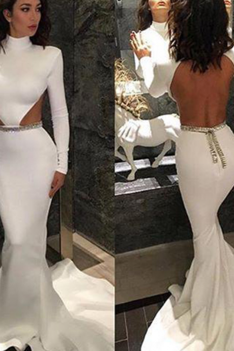 Prom Dresses,White High-Neck Long-Sleeve Sexy Backless Mermaid Evening Dresses