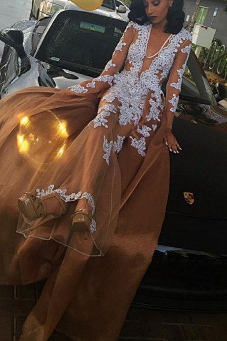 Prom Dresses,2017 Lace-Appliques Long-Sleeve V-neck Newest A-line Evening Dress