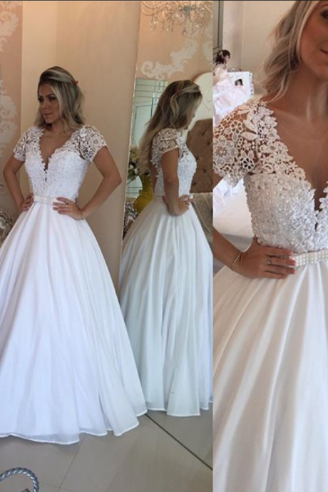 Modest Prom Dresses,Sexy New Prom Dress,Lace Short Sleeves Evening Dress V-Neck White Crystal Bowknot Prom Dress
