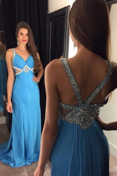 Prom Dresses,Prom Dress,Blue Chiffon Prom Dresses 2017 Sleeveless Crystals Long Evening Gowns