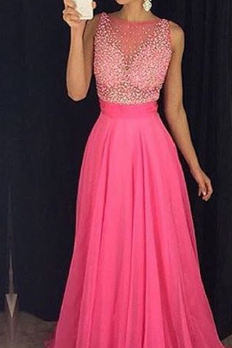 Prom Dresses,Prom Dress,Fuchsia Newest Beadings Tulle A-Line Sleeveless Prom Dress
