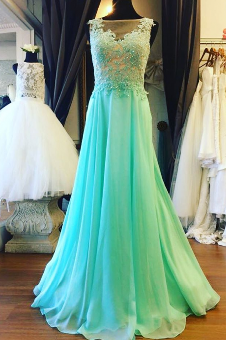 Prom Dresses,Prom Dress,Mint Green Illusion Sheer Back Prom Dress , Formal Gown With Lace Appliques