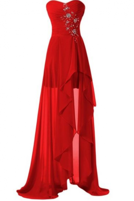 Prom Dresses,High Low Prom Dress,Backless Formal Gown,Red Prom Dresses,Evening Gowns,Chiffon Formal Gown For Teens