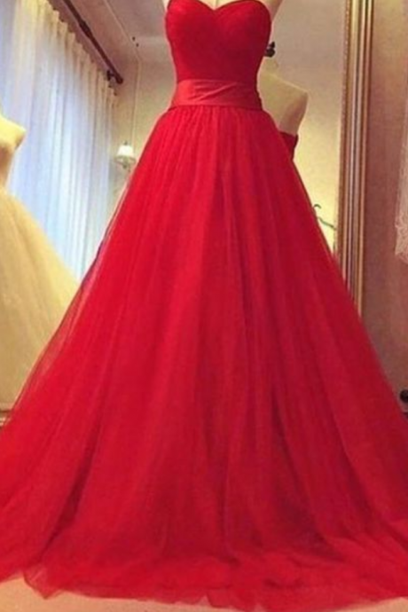 New Arrival Prom Dress,Red A-line sweetheart tulle long prom dress,evening dress,formal gown