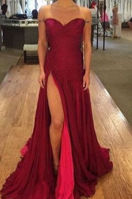 New Arrival Prom Dress,Burgundy prom dress, sweetheart long evening dresses,chic formal dress with slit,fashion dress for woman