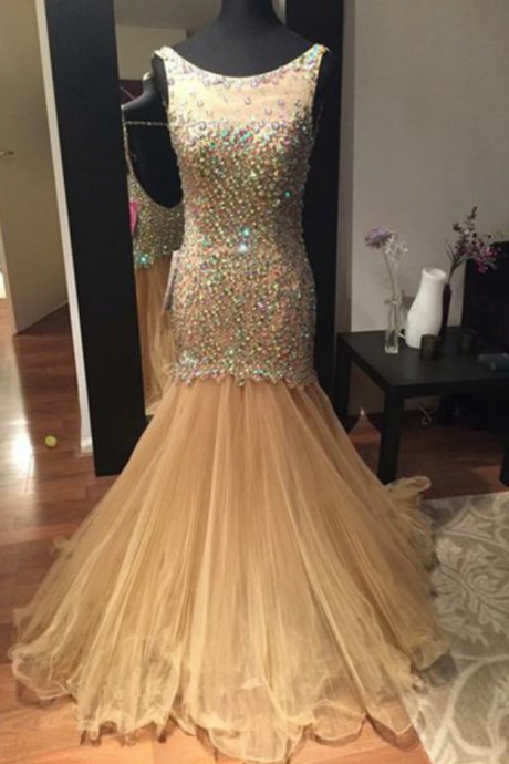 New Arrival Prom Dress,Golden slim long prom dress,sexy mermaid beading long prom dresses,fashion backless evening dresses