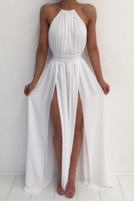 white Prom Dresses,Split Prom Dress,Chiffon Prom Dress,Long Prom Dresses,2016 Formal Gown,Slit Evening Gowns For Teens
