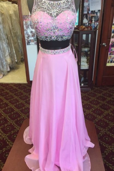 2 Piece Prom Gown,Two Piece Prom Dresses,Pink Evening Gowns,2 Pieces Party Dresses,Chiffon Evening Gowns,Glitter Formal Dress,Sparkly Evening Gowns For Teens