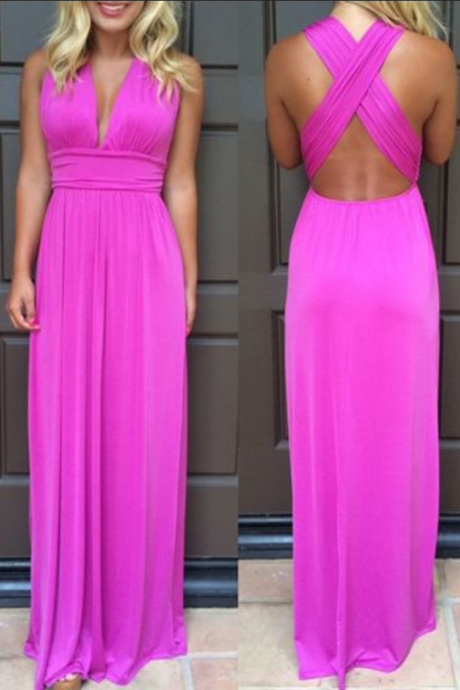 Chiffon Prom Dresses,Hot Pink Prom Dress,Modest Prom Gown,Cheap Prom Gowns,Simple Evening Dress,Princess Evening Gowns,Party Gowns