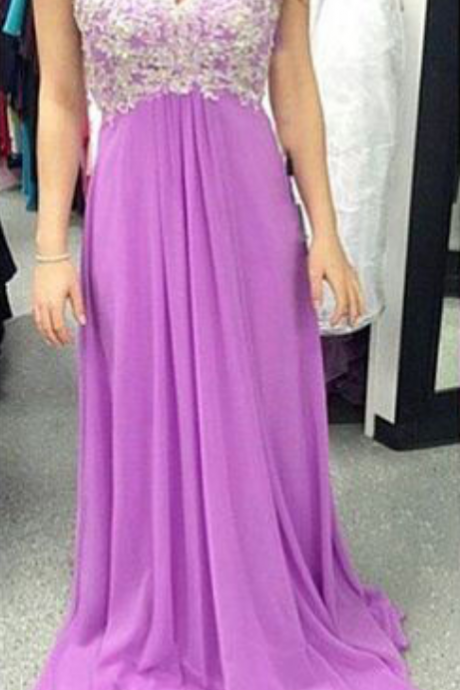 Lilac Prom Dresses,Vintage Prom Gown,Mermaid Evening Gowns,Lace Party Dress,Chiffon Evening Dress,2016 Prom Dress