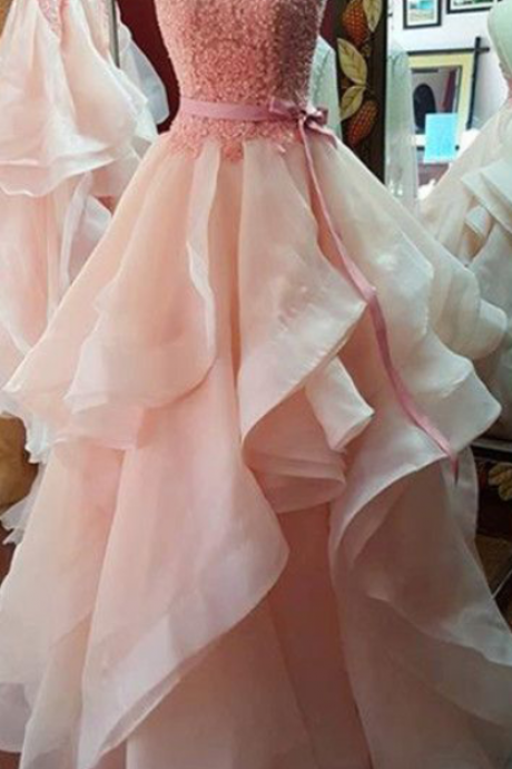 Prom Dresses,Princess Prom Dress,Ball Gown Prom Gown,Pink Prom Gown,Elegant Evening Dress,Evening Gowns,2016 Party Gowns With Lace