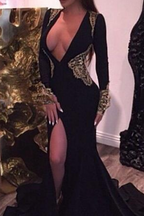 Black Prom Dresses,Mermaid Prom Dress,Prom Dress,Prom Dresses,2016 Formal Gown,Long Sleeves Evening Gowns,Party Dress,Prom Gown For Teens