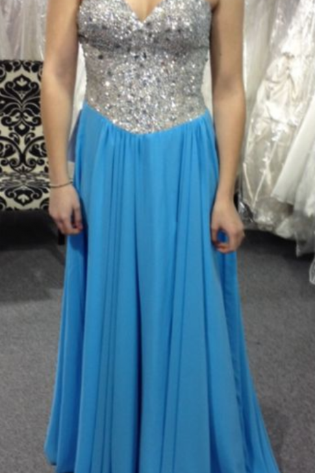 Blue Prom Dresses,A-Line Prom Dress,Beaded Prom Dress,Simple Prom Dress,Chiffon Prom Dress,Simple Evening Gowns,Sparkle Party Dress,Elegant Prom Dresses,Beading Formal Gowns For Teens