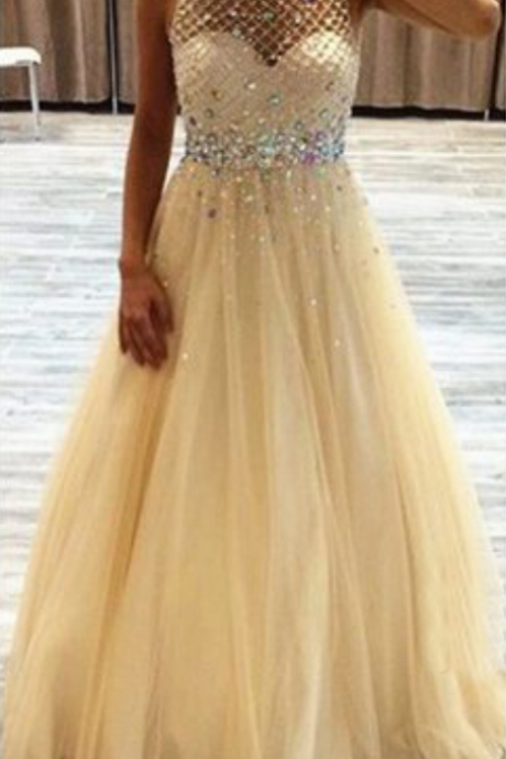 Backless Prom Dresses,Champagne Prom Dress,Backless Prom Gown,Open Back Prom Dresses,Open Backs Evening Gowns,Beaded Formal Gown,Sparkle Prom Gowns For Teens Girls