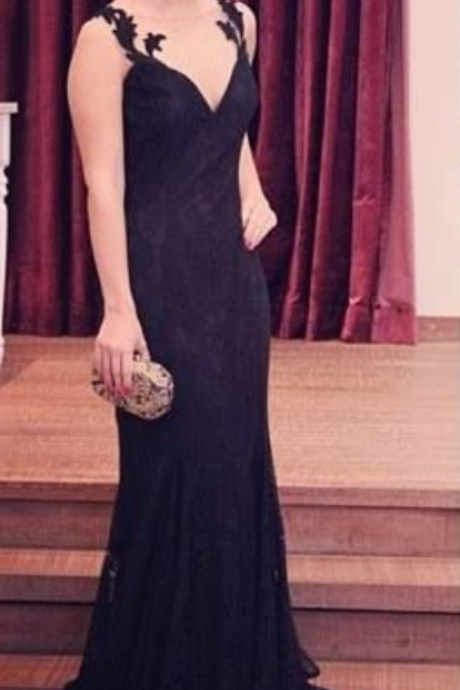 Straps Prom Dresses,Lace Evening Dress,Backless Prom Dress,Black Prom Dresses,Charming Prom Gown,Open Back Prom Dress,2016 Fashion Evening Gowns for Teens