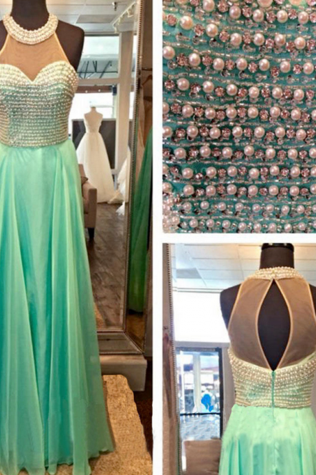 Mint Green Halter Sheer Beaded A-line Chiffon Floor-Length Prom Dress, Evening Dress Featuring Keyhole Back