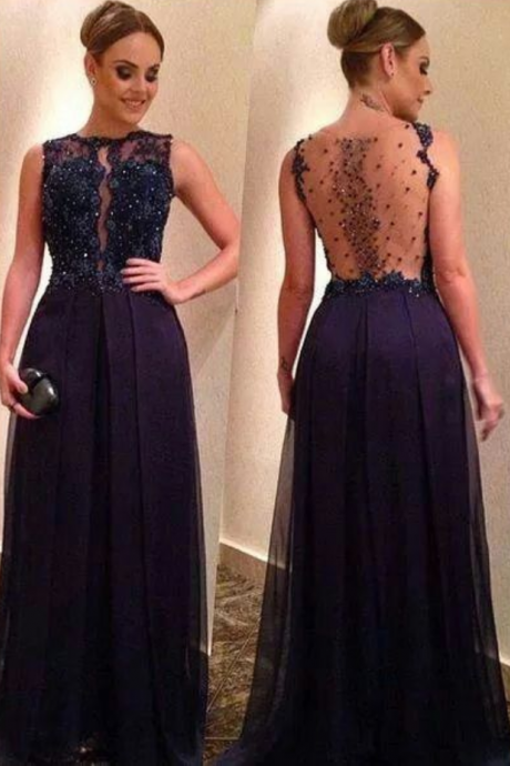 Navy Blue Prom Dress,Lace Prom Dress,Beaded Prom Gown,Backless Prom Dresses,Sexy Evening Gowns,Open Backs Evening Gown,Open Back Party Dress For Teens