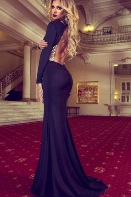 Black Prom Dress,Mermaid Prom Dress,Simple Prom Gown,Backless Prom Dresses,Sexy Evening Gowns,2016 Evening Gown,Open Back Long Sleeves Evening Dress For Teens