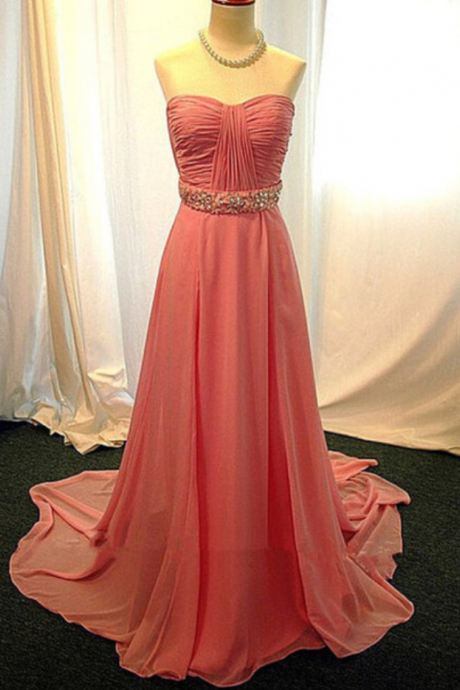 Pink Ruched Sweetheart Neckline Chiffon Long Prom Dress with Crystal Embellished Waistline