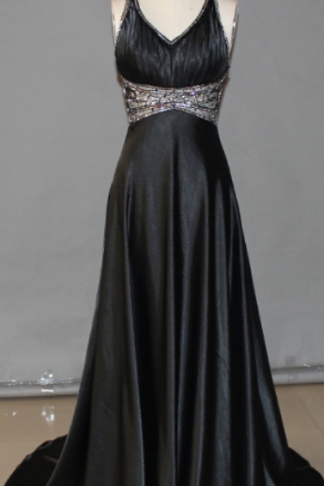 Black Prom Dresses,Backless Prom Dress,Organza Prom Dress,Simple Prom Dresses,2016 Formal Gown,V neck Evening Gowns,Modest Party Dress,Prom Gown For Teens