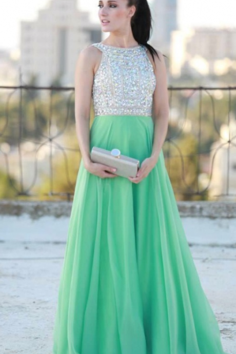Mint Prom Dresses,A-Line Prom Dress,Beading Prom Dress,O-Neck Prom Dress, Chiffon Prom Dress,Beading Evening Gowns,2016 New Gowns For Teens