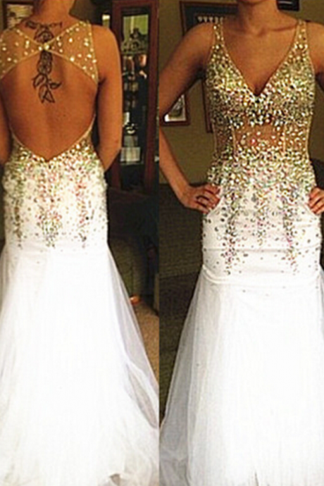 White Prom Dresses,Gold Beaded Evening Dress,Backlss Prom Dresses,Open Backs Prom Dresses, 2016 Prom Gown,Elegant Prom Dress,Open Back Gowns for Teens Prom