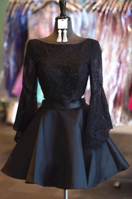 black homecoming dress,long sleeves homecoming dress,two piece prom dresses