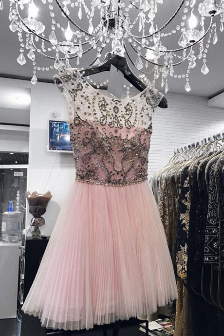 Pink Homecoming Dress,Prom Short Dresses Crystal Beaded,Cap Sleeves Homecoming Dress,Short Prom Gowns