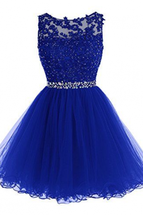 Homecoming Dress,Cute Homecoming Dress,Tulle Homecoming Dress,Short Prom Dress,Royal Blue Homecoming Gowns,Beaded Sweet 16 Dress