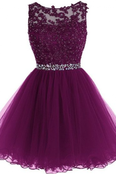 Homecoming Dress,Cute Homecoming Dress,Tulle Homecoming Dress,Short Prom Dress,Grape Homecoming Gowns,Beaded Sweet 16 Dress