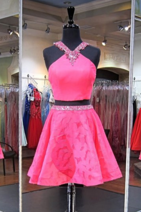 Homecoming Dress,2 Piece Homecoming Dresses,Pink Sweet 16 Dress,Homecoming Dress,2 pieces Cocktail Dress,Two Pieces Evening Gowns