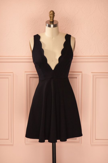 Black Short A-Line Homecoming Dress Straps satin homecoming dress sweet 16 birthday party gowns
