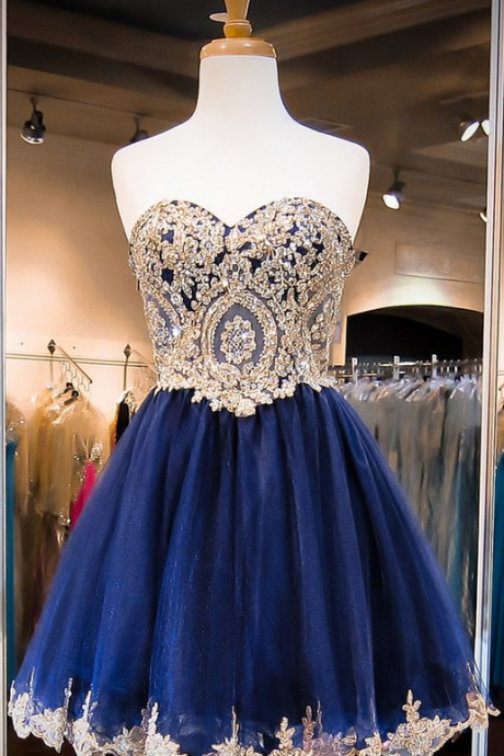 Homecoming Dress,Tulle Homecoming Dress,Cute Homecoming Dress,Tulle Homecoming Dress,Short Prom Dress,Navy Blue Homecoming Gowns,Beaded Sweet 16 Dress