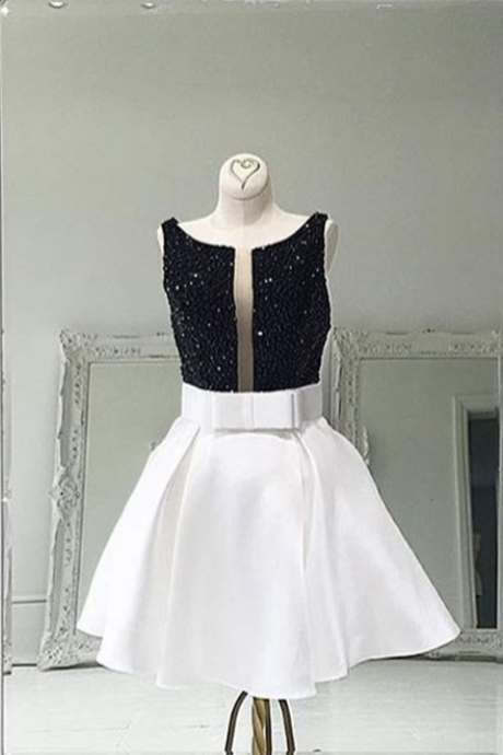 white homecoming dress,short prom dress 2017,bow dress,sequins homecoming dress,sparkly homecoming dress,satin dresses