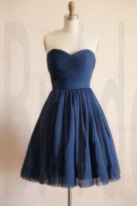 Homecoming Dress,Cute Navy Blue Prom Dress,Short Tulle Prom Dresses