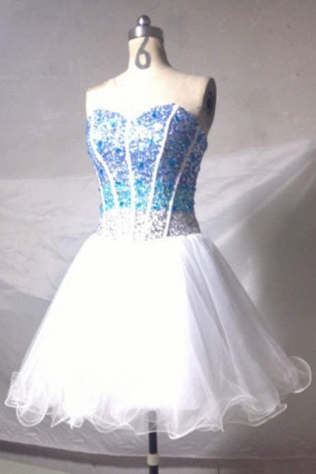 White Homecoming Dress,Sparkle Homecoming Dresses,Glitter Homecoming Gowns,Short Prom Gown,Sweet 16 Dress,Blue Beading Homecoming Dresses,Tulle Cocktail Dress,Fitted Formal Dress