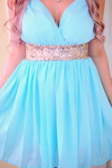 Light Sky Blue Homecoming Dress,Short Prom Dresses,Homecoming Gowns,Fitted Party Dress,Prom Dresses,Sparkly Cocktail Dress,backless Homecoming Gown,2016 Style Glitter Evening Gowns