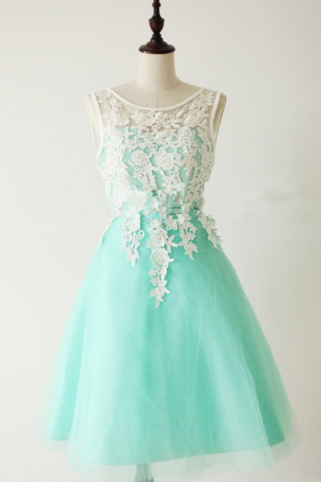 Lace Homecoming Dress,Lace Prom Dress,Cute Homecoming Dress,Mint Green Homecoming Dresses,Short Prom Dress,Simple Homecoming Gowns,Tulle Sweet 16 Dress Under 100