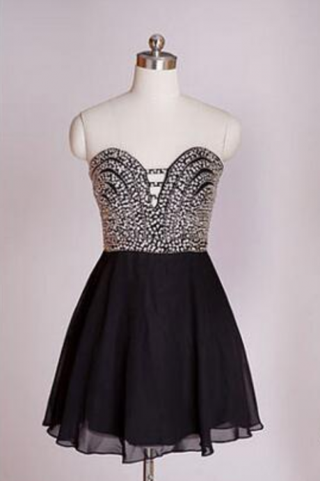 Black Homecoming Dress,Short Prom Gown,Chiffon Homecoming Gowns,Elegant A Line Beading Party Dress, Short Prom Dresses